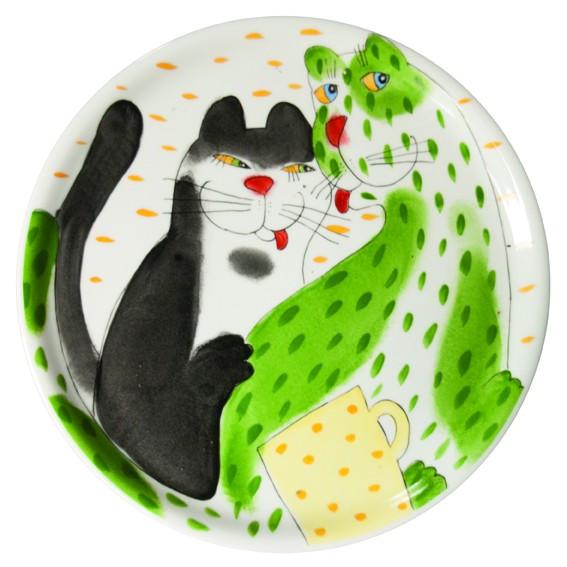 Katze mit Tasse Tortenplatte 31 cm