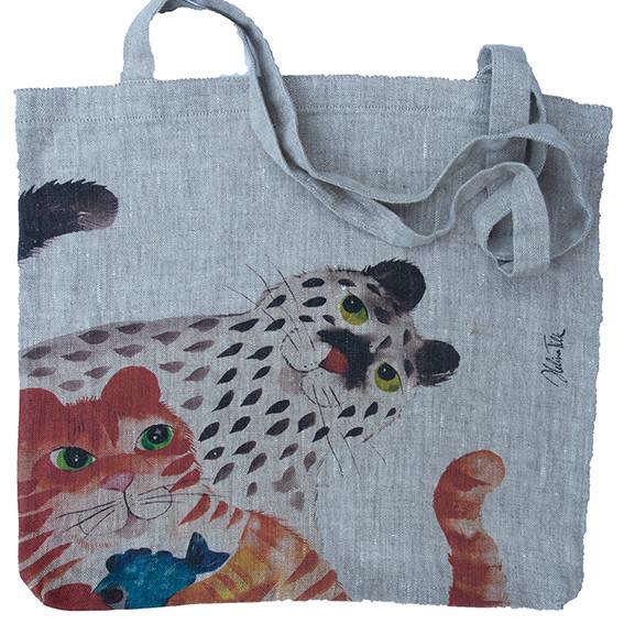 Helina Tilk: Heimtextilien - Tasche aus Leinen 38x38 Katze mit Fisch und Maus natur