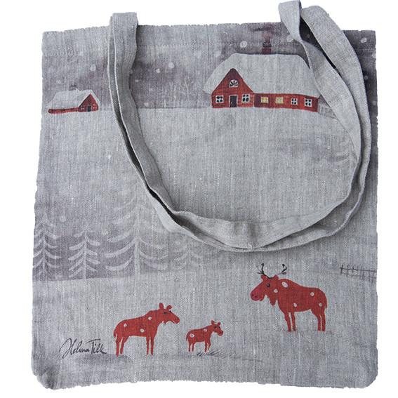 Helina Tilk: Tasche aus Leinen 38x38 Schneeelche natur