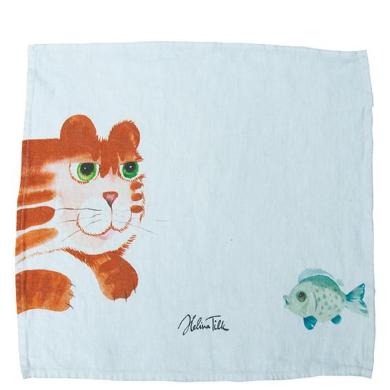 Helina Tilk: Heimtextilien - Serviette aus Leinen 40x40 Katze mit Fisch weiß