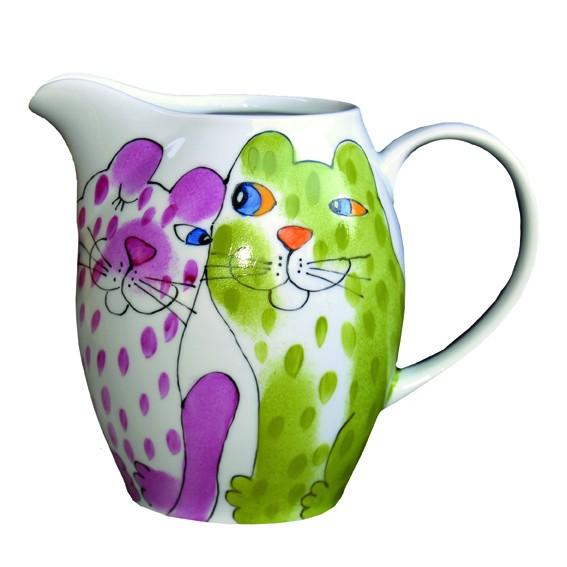 Bunte Katzen (Rückseite) rosa-grün Krug 1 l