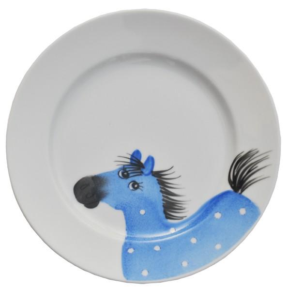 Handbemaltes Porzellan: handbemalter Teller 19 cm, Motiv: Osvald Pferd blau