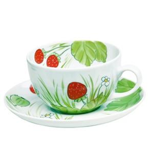 Erdbeere Tasse mit Unterteller 0,45 l