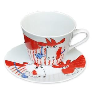 Helina Tilk: Handbemaltes Porzellan- handbemalte Tasse 0,45l mit Unterteller, Motiv: Ziege rot