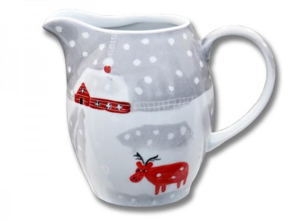 Helina Tilk: Handbemaltes Porzellan, Keramik, Heimtextilien, Porzellanmarken aus Ostholstein - handbemalter Krug 1 l mit Schneeelchmotiv