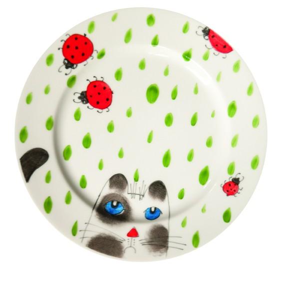 Katze mit Käfer Teller 19 cm