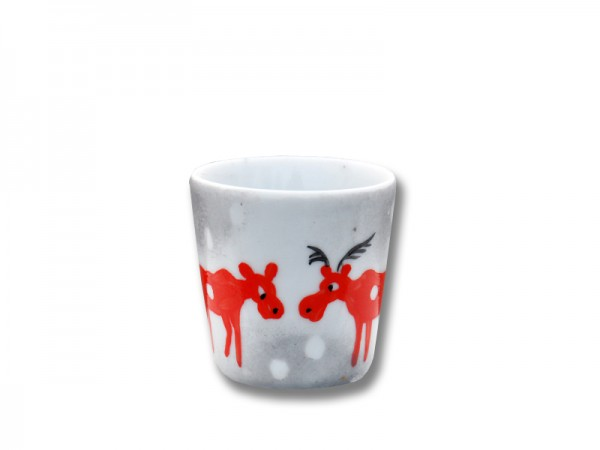 Helina Tilk: Handbemaltes Porzellan, Keramik, Heimtextilien, Porzellanmarken aus Ostholstein - handbemalter Eierbecher mit Schneeelchmotiv